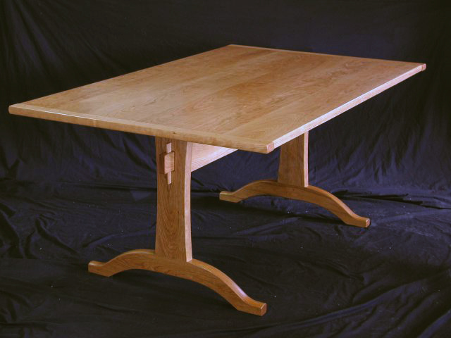 shaker cherry trestle table