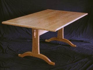 dining tables by Timothy Clark, trestle table, cherry, modern, traditional